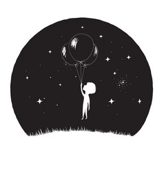 little boy fly with balloons vector image