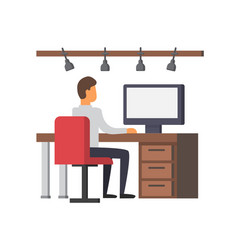 man working on computer business office vector image vector image