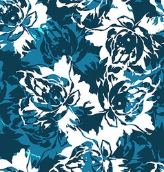 Seamless floral pattern with roses on a blue vector image vector image
