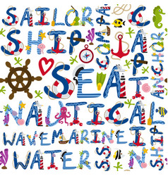 seamless pattern of nautical words vector image vector image