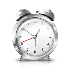Silver retro alarm clock isolated on white vector