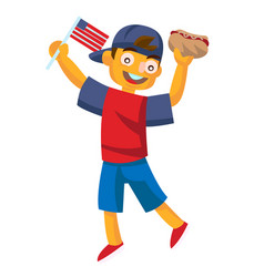 boy holding a hotdog and waving usa flag vector image