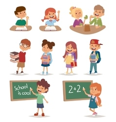 Group school kids going study together childhood vector image