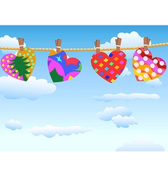hanging loving hearts in blue sky vector image