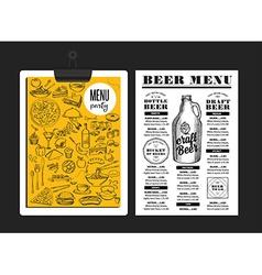 Menu beer restaurant alcohol template placemat vector image