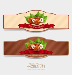 set of horizontal labels with hazelnuts vector image vector image