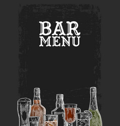 template for bar menu alcohol drink vector image