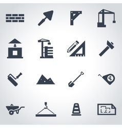black construction icon set vector image