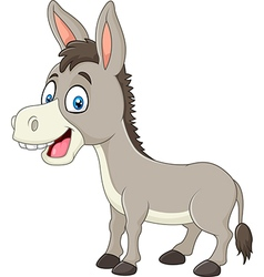 Cartoon happy donkey isolated on white background vector image vector image