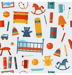 Children bedroom seamless pattern with toys vector