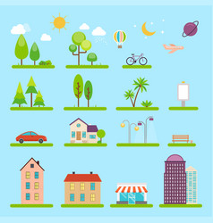 city in flat style icons and vector image