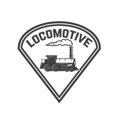Emblem template with retro train rail road vector