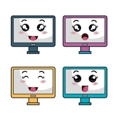 monitor computer character icon vector image