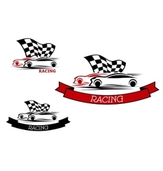 Racing sport emblems with fast cars vector image vector image