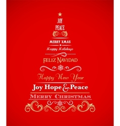 Vintage Christmas tree with text and elements vector image vector image