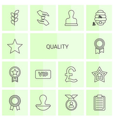 14 quality icons vector image
