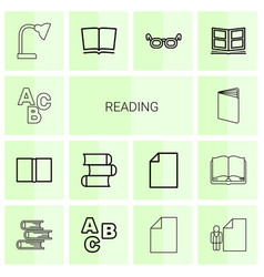 14 reading icons vector