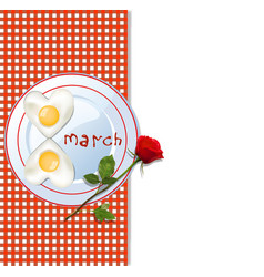 8 march template with number eight shaped vector