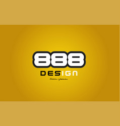 888 number numeral digit white on yellow vector