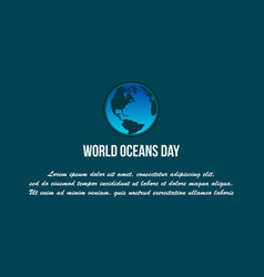 Background world ocean day flat vector