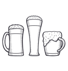 beer glass engraving vector image