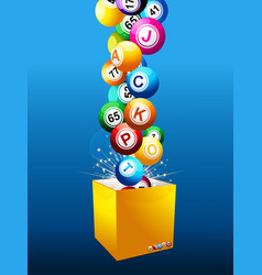 Bingo jackpot balls on a box over blue background vector