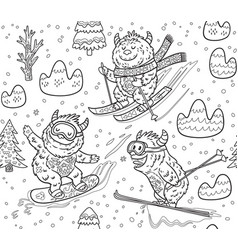 black and white yeti skiing in the mountain vector image