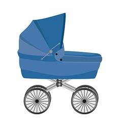 Blue baby pram vector