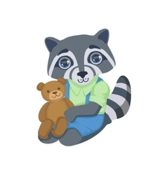 Boy Raccoon With Teddy Bear vector image