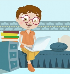 boy with laptop vector image