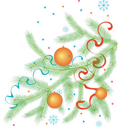 Branch christmas tree with adornments vector