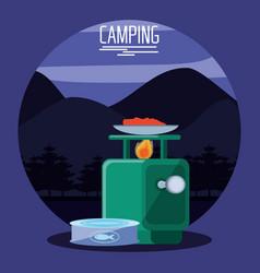 Camping zone with oven querosene vector