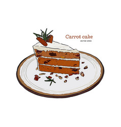 carrot cake hand draw sketch vector image
