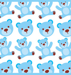 cartoon blue bear boy baby shower seamless pattern vector image