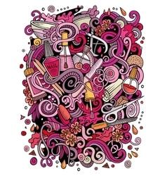 Cartoon doodles Nail salon vector