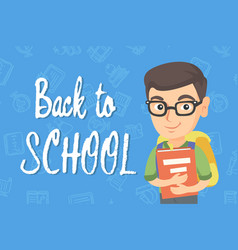 Caucasian schoolboy with backpack and textbook vector