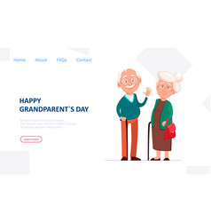 cheerful grandfather and grandmother vector image