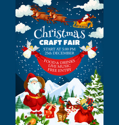 christmas craft fair invitation poster with santa vector image