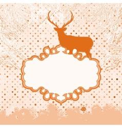 Christmas deer snowflakes card vector