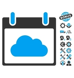 Cloud Calendar Day Icon With Bonus vector image