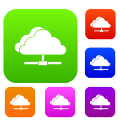 cloud computing connection set collection vector image