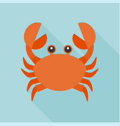 crab icon flat design with long shadow vector image