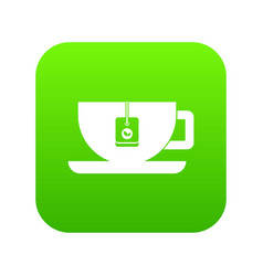 cup of tea with tea bag icon digital green vector image