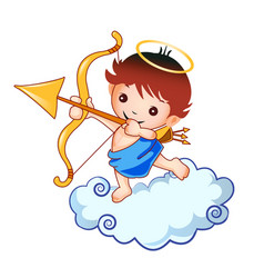 cupid kid angel graphic design logo vector image