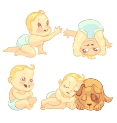 Cute baby in diaper character set vector