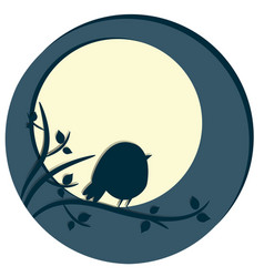 Cute bird sitting on tree branch night scene with vector