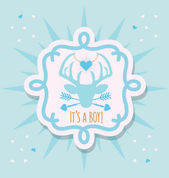 Cute blue its a boy deer emblem sticker card vector