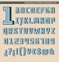 Dark blue striped alphabet set vector