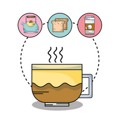 Delicious coffe cup taste with icons vector