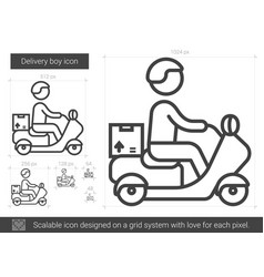 Delivery boy line icon vector